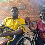 Disabled couple forced to crawl down staircase